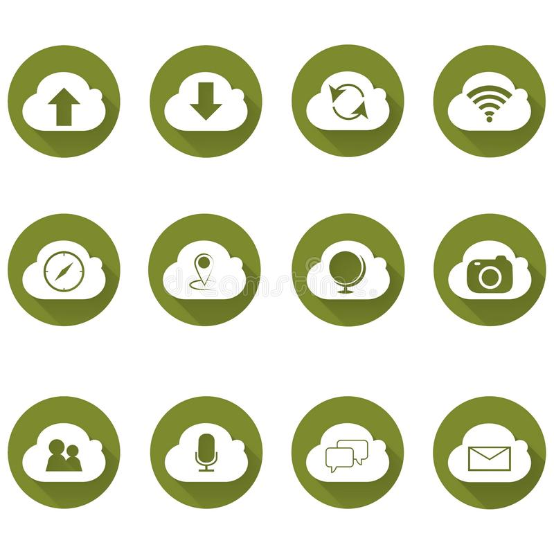 云图标集,每个图标是单个对象复合路径 简单的云计算图标集、生态图标系列 库存例证