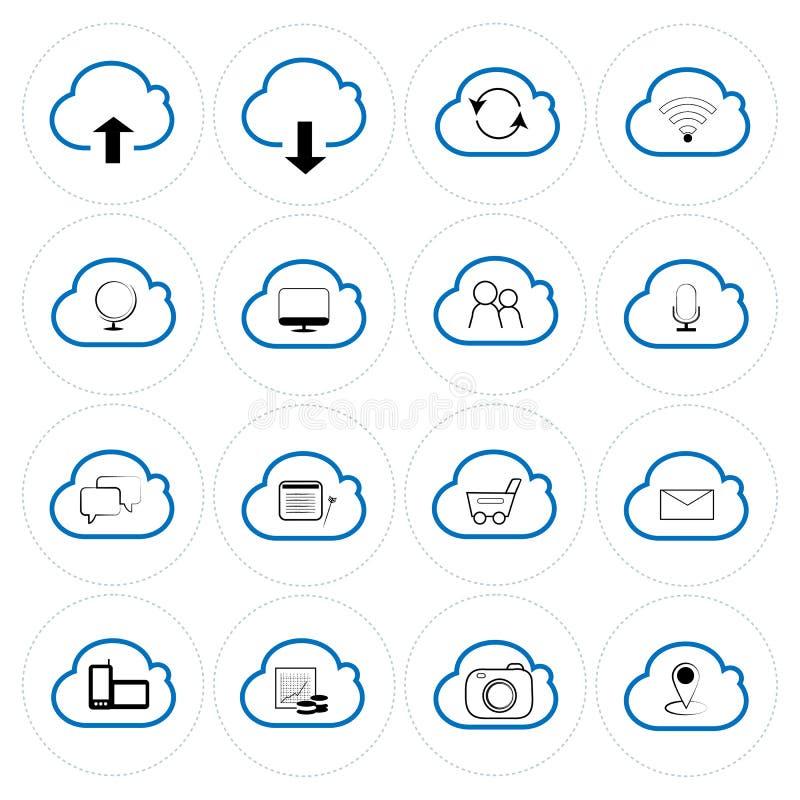 云图标集,每个图标是单个对象复合路径 向量例证