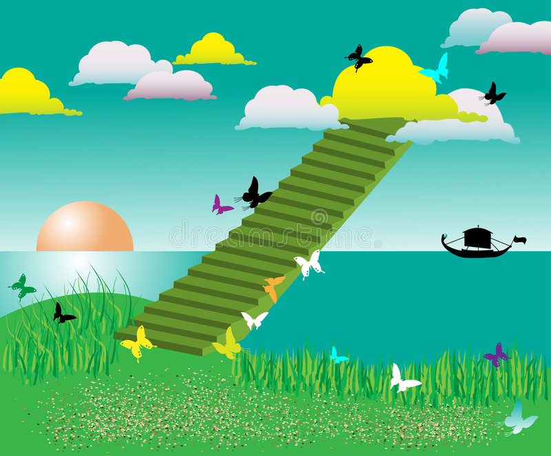 云彩上色了楼梯 库存例证