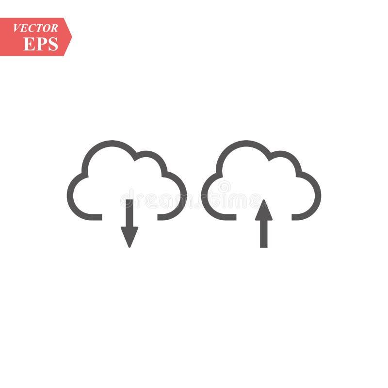 云彩下载和平加载的象 在白色背景的黑图表 传染媒介例证标志和奖金按钮 库存例证