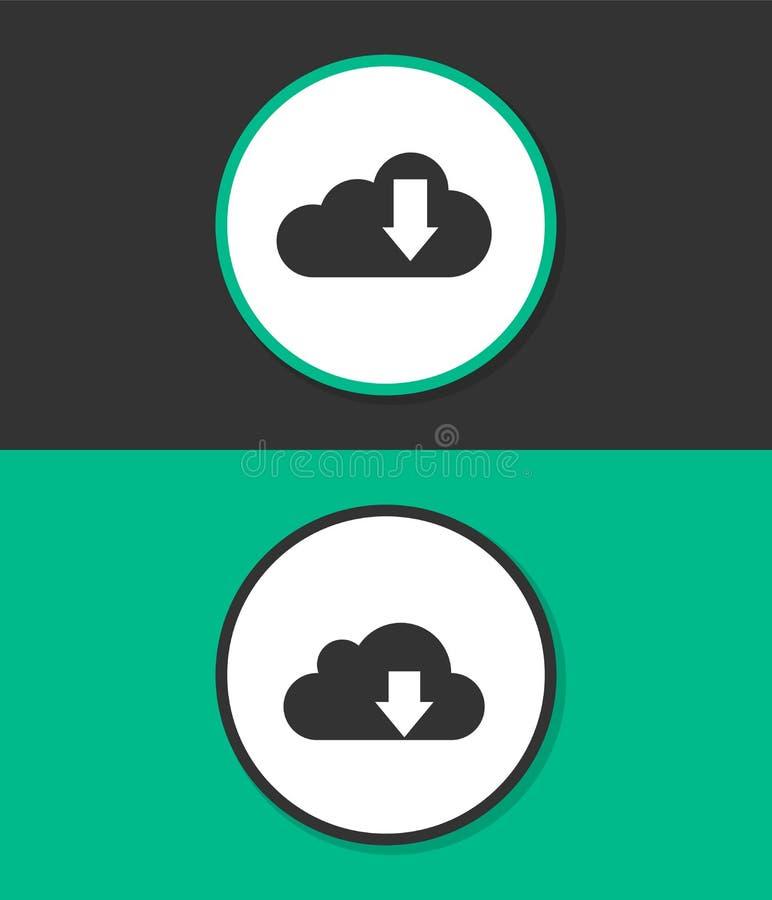 云彩下载在白色背景的传染媒介象 库存例证
