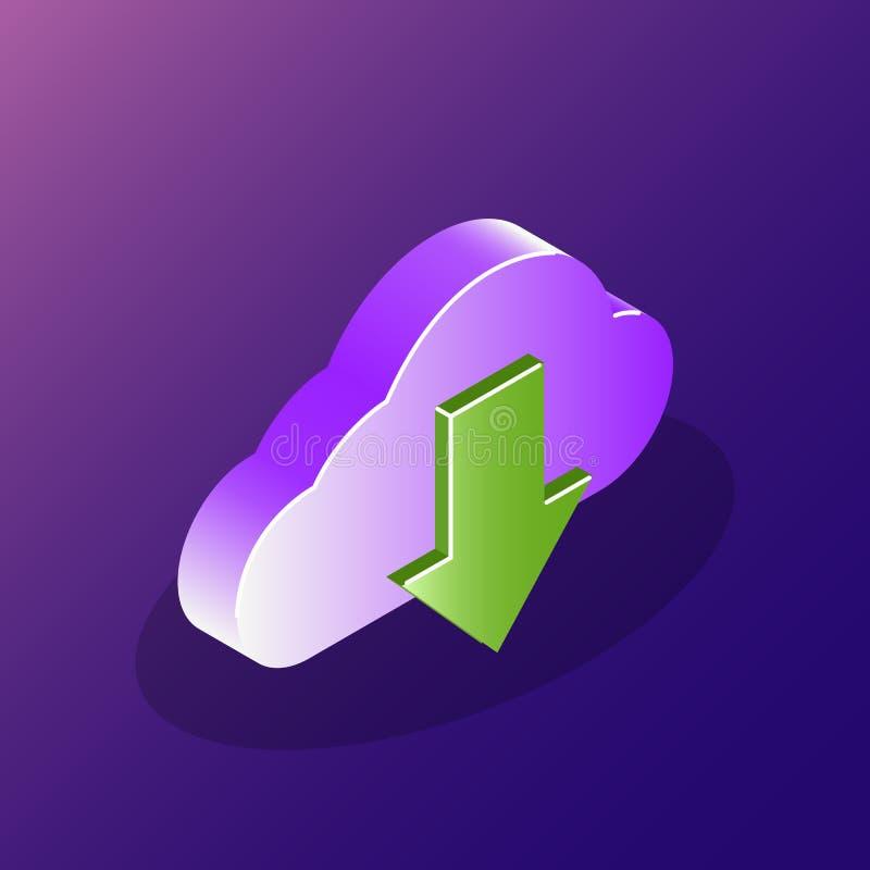 云彩下载概念象 在云彩服务的可靠的数据存储 3d您的网站或流动应用的象 向量例证
