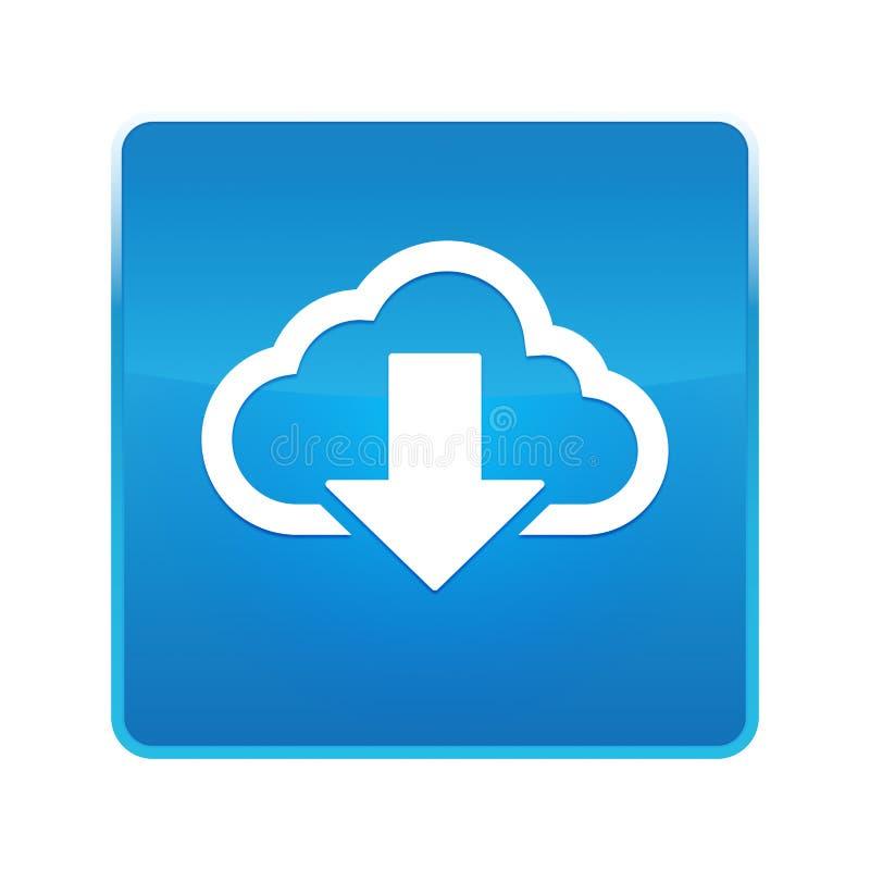 云彩下载象发光的蓝色方形的按钮 向量例证
