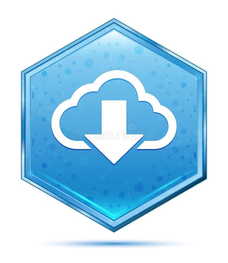 云彩下载象水晶蓝色六角形按钮 皇族释放例证