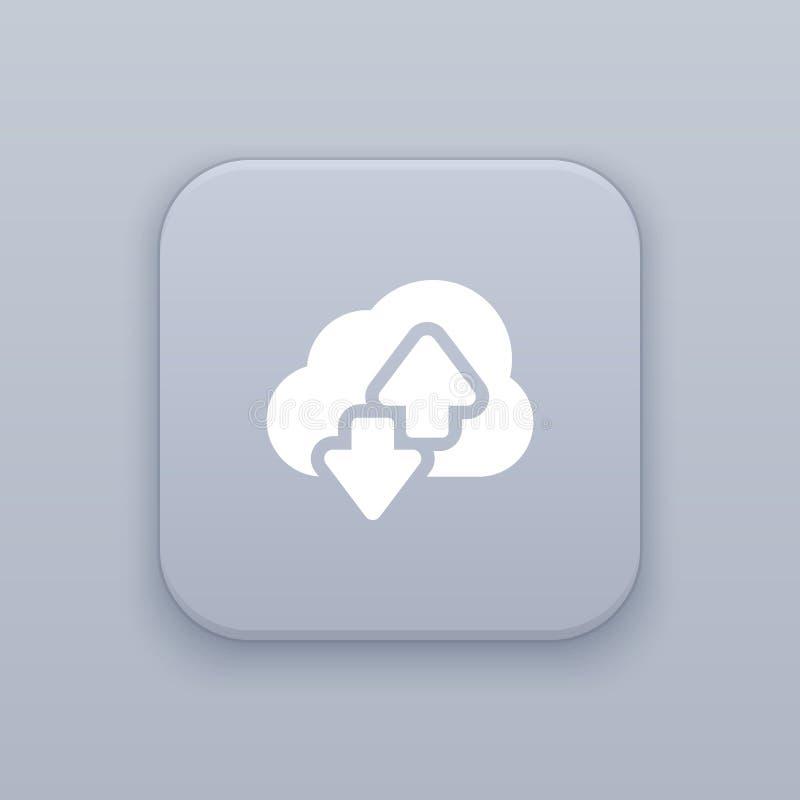 云彩下载,主持有白色象的灰色传染媒介按钮 皇族释放例证