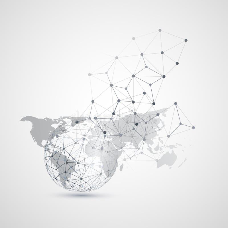 云彩与世界地图的计算和网络-抽象全球性数字网连接,技术概念背景 皇族释放例证