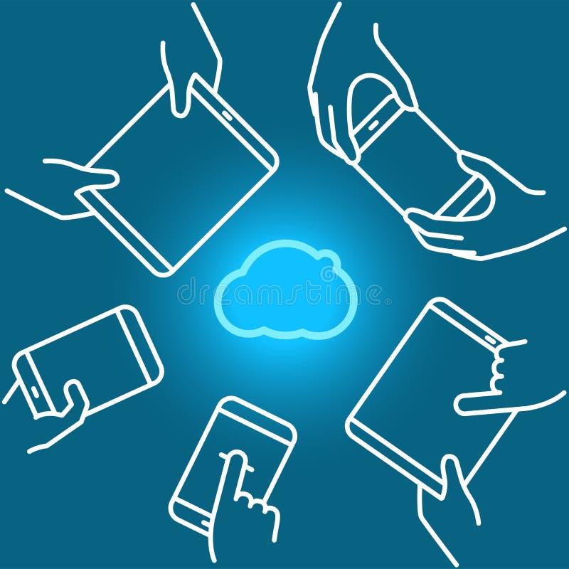 云彩与现代小配件的技术用法 Lineart传染媒介illus 皇族释放例证