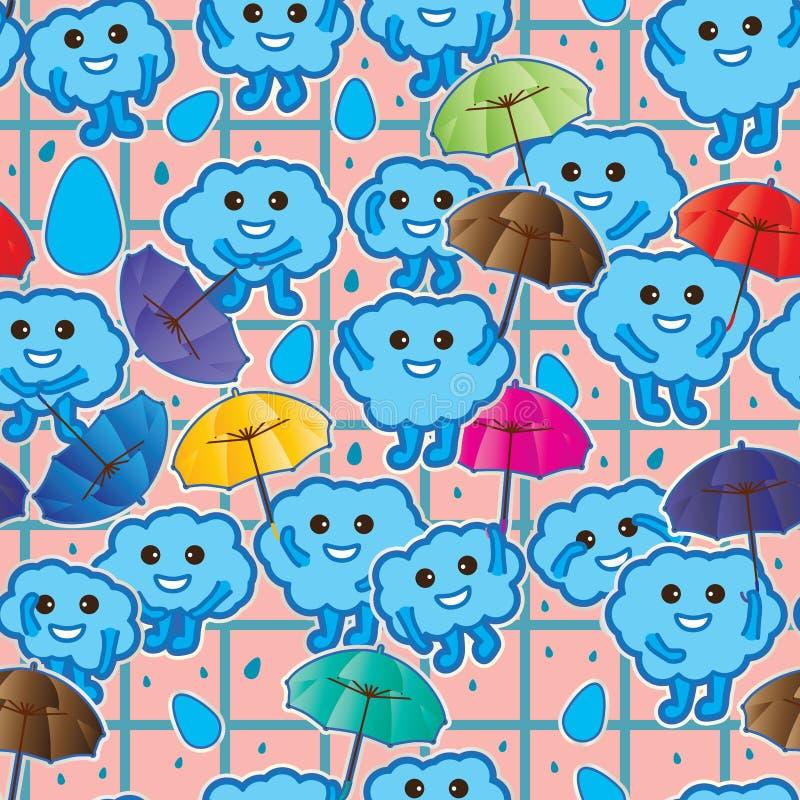 云彩亲切的举行的伞贴纸无缝的样式 向量例证