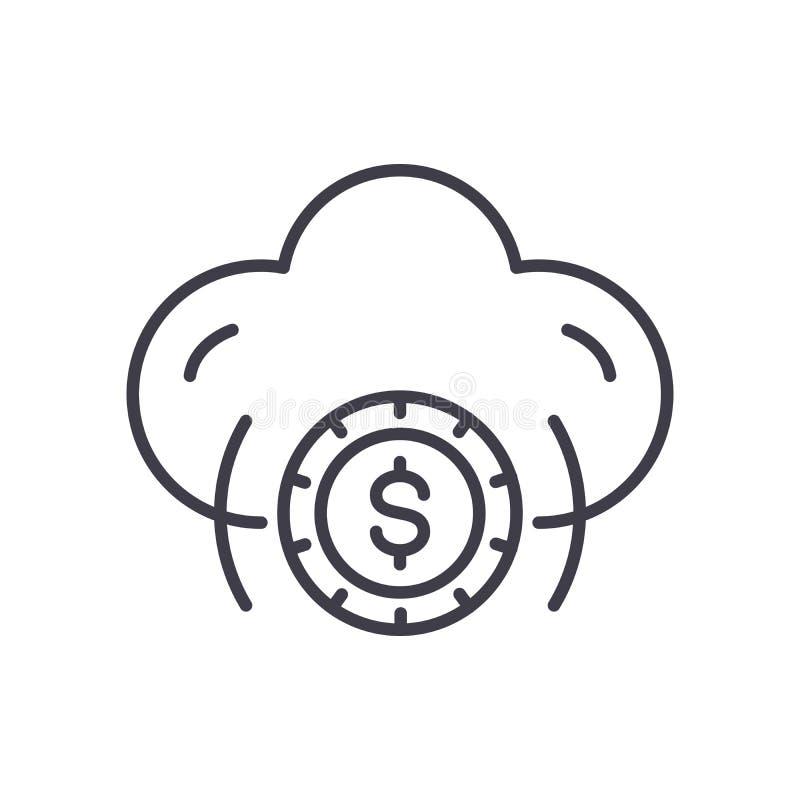 云彩企业黑色象概念 覆盖企业平的传染媒介标志,标志,例证 库存例证