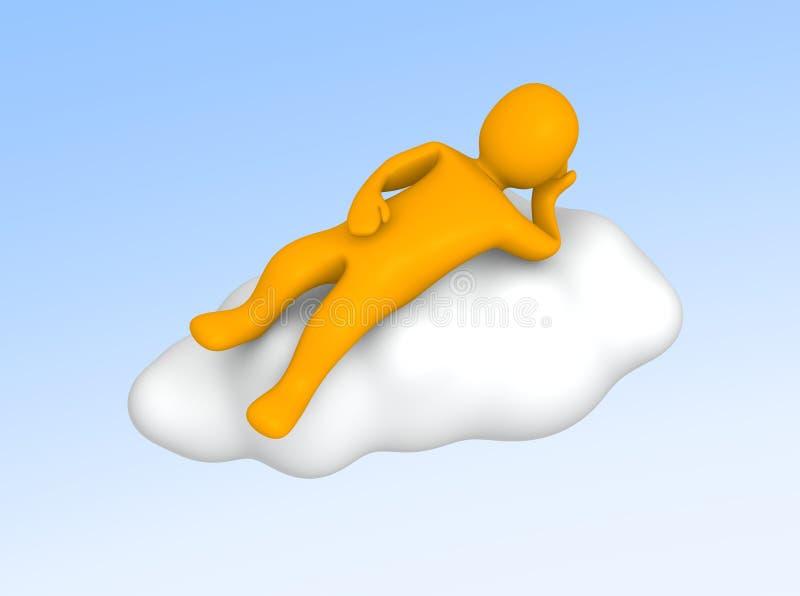 云彩位于的人天空 向量例证
