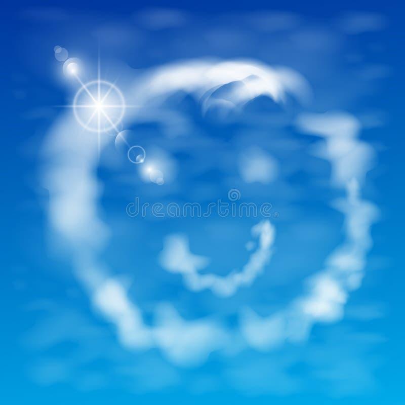 从云彩例证微笑反对天空 免版税库存照片