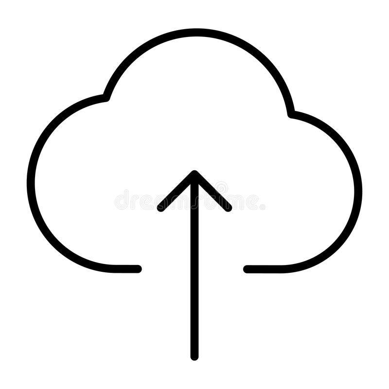云彩加载线象 传染媒介简单的最小的96x96图表 库存例证