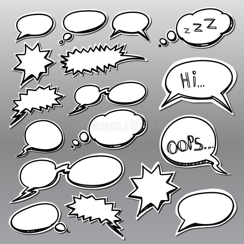 云彩可笑的集样式谈话 库存例证