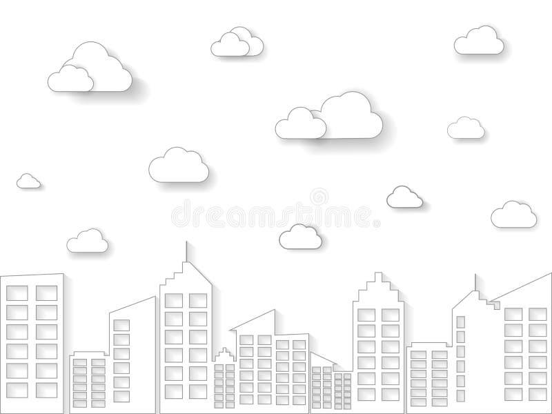 云彩和大厦在线性样式 稀薄的线艺术城市和镇模板导航例证 皇族释放例证