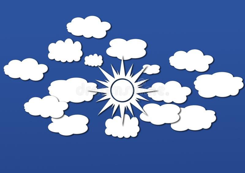 云彩和太阳生动描述个人计算机和手机的墙纸 库存照片