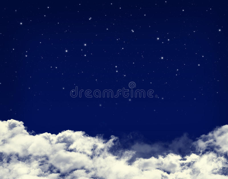 云彩和星在夜蓝天 库存例证