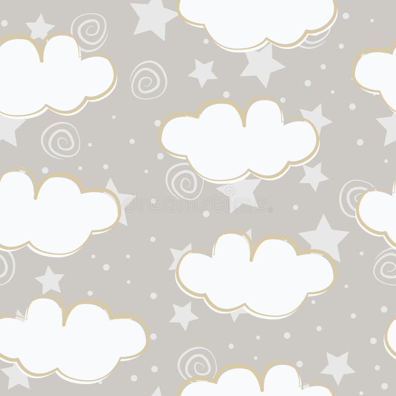 云彩和星孩子无缝的样式设计 向量例证