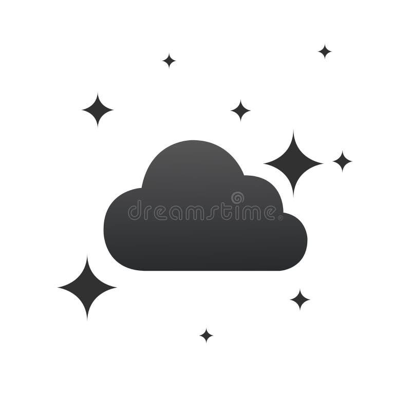 云彩和星象 E 夜或床时间标志 在白色背景的平的标志 ?? 向量例证