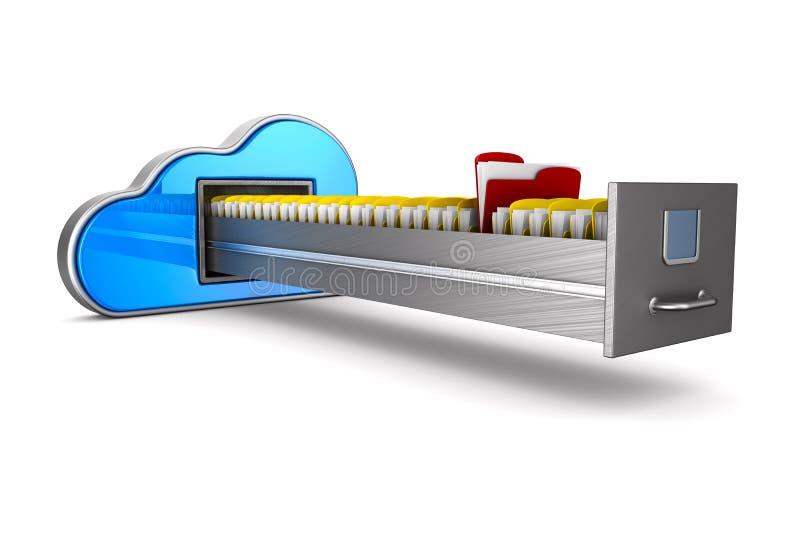云彩和档案橱柜在白色背景 被隔绝的3d illust 库存例证
