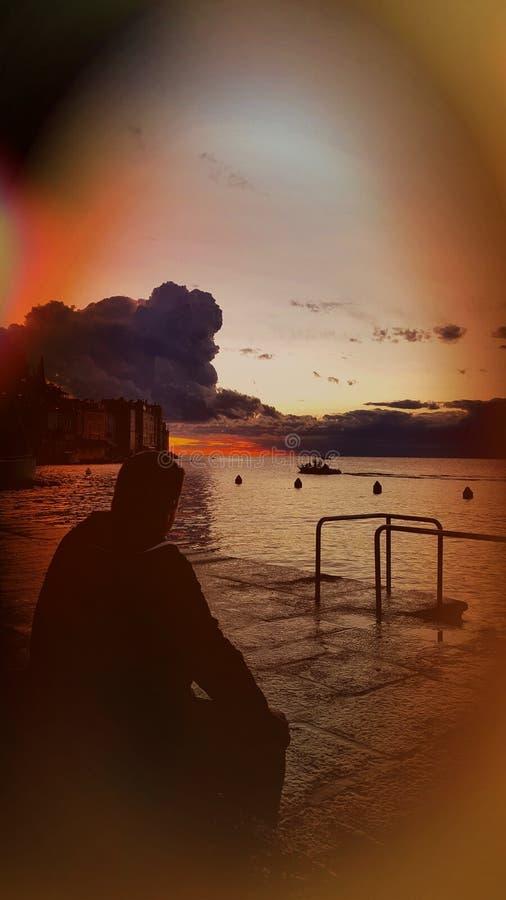 云彩和海运 库存图片