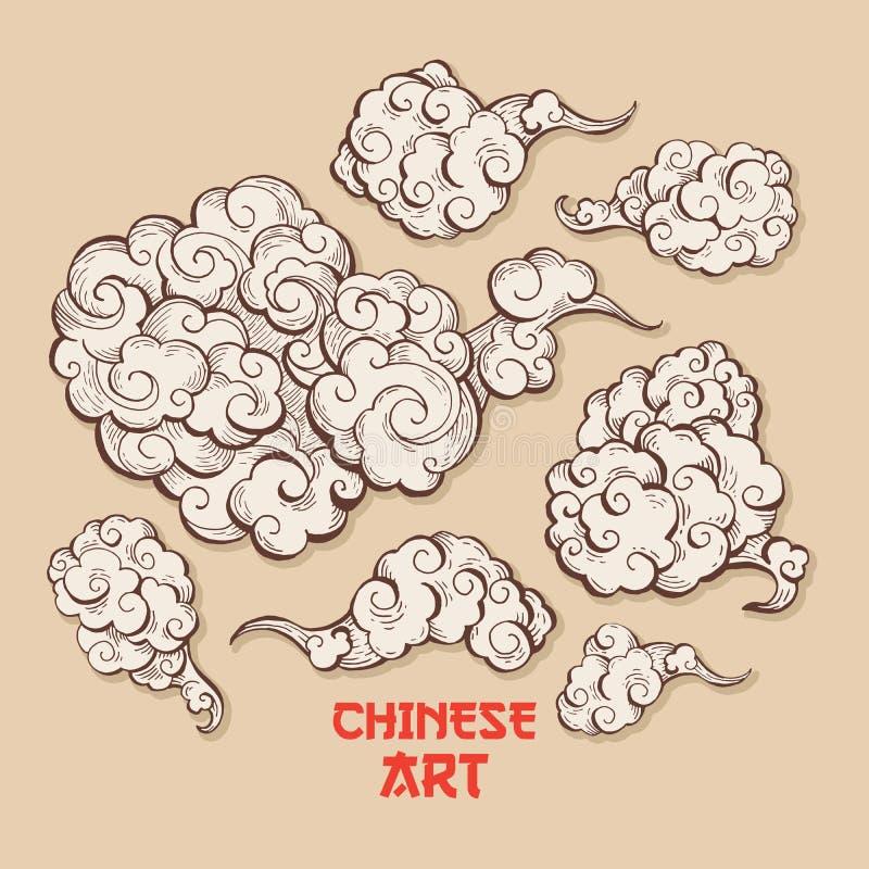 云彩和风打击中国风格例证 库存例证