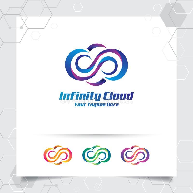 云彩商标与云彩和五颜六色的现代样式的概念的传染媒介设计 云彩应用程序,主持,服务器和云彩的传染媒介商标 向量例证