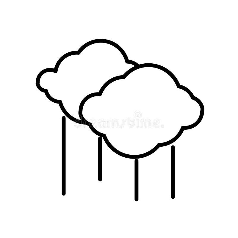 云彩在白色背景、云彩标志、线或者线性标志隔绝的象传染媒介,在概述样式的元素设计 向量例证