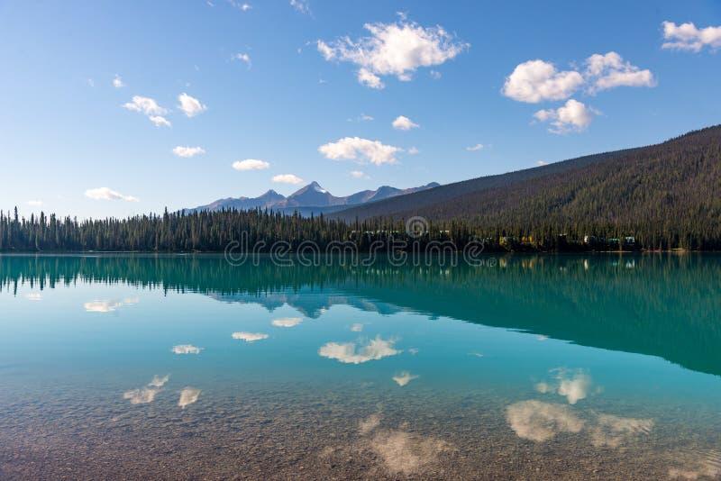 云彩在鲜绿色湖中美丽的水域反射了在加拿大的幽鹤国家公园 库存照片