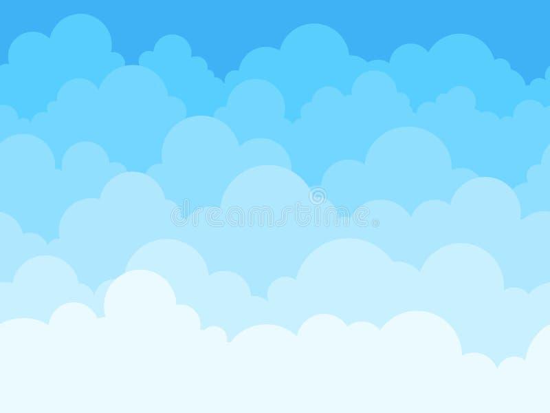 云彩天空动画片背景 与白色云彩平的海报或飞行物,cloudscape全景样式传染媒介的天空蔚蓝 向量例证