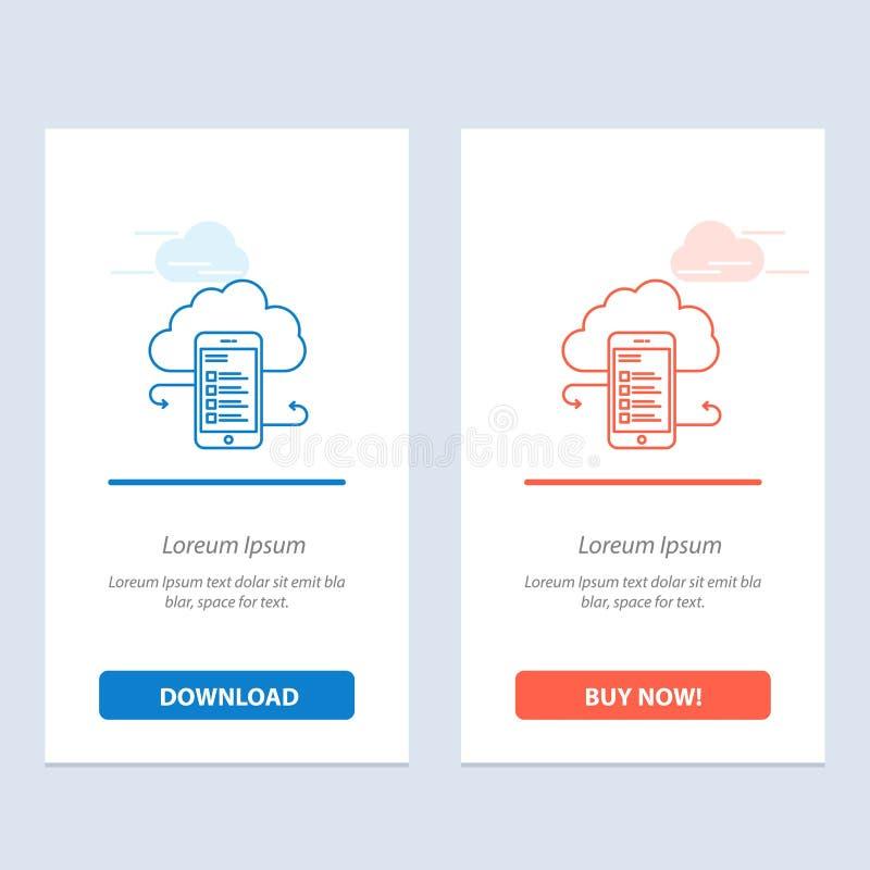 云彩存贮、事务、云彩存贮、云彩、信息、机动性、安全蓝色和红色下载和现在买网装饰物卡片 皇族释放例证