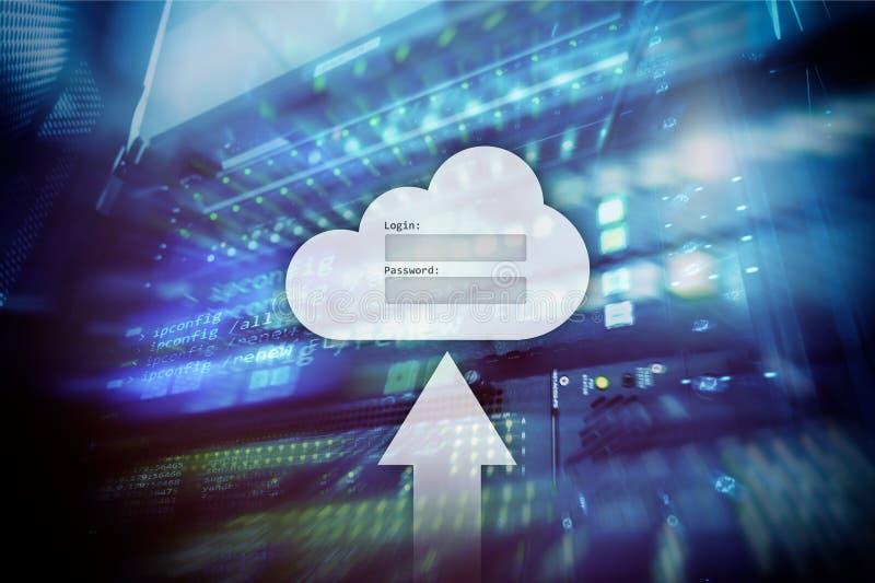 云彩存贮、数据存取、注册和密码请求在服务器室背景的窗口 互联网和技术概念 库存例证