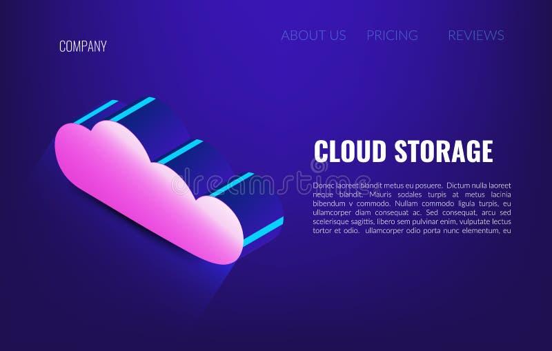 云彩存贮等量概念 主持网络的云彩 3d服务器和datacenter连接网络 向量例证