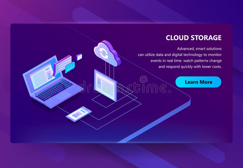 云彩存贮网技术传染媒介例证背景 向量例证