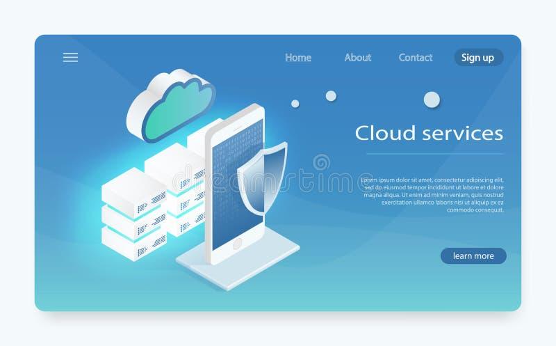 云彩存贮,数据传送的概念 服务器室,大数据中心 等量云彩存贮着陆页概念 皇族释放例证
