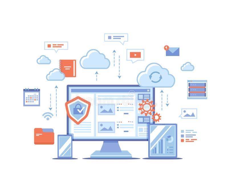 云彩存贮 计算网上的云彩,主持的网络,服务 计算机,电话,片剂,服务器,个人信息,云彩 皇族释放例证