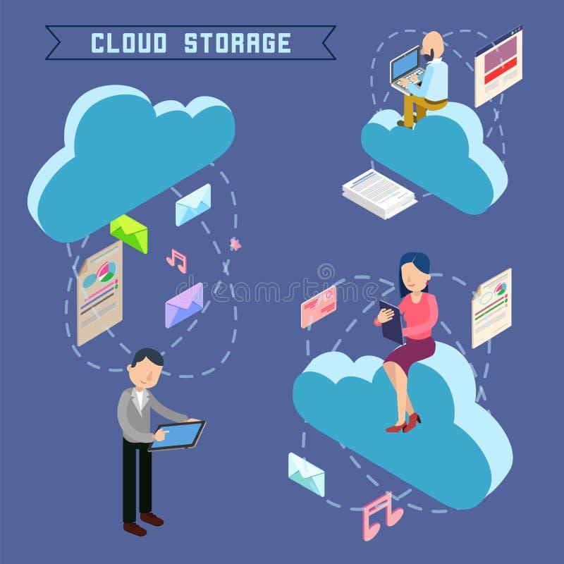 云彩存贮等量计算机科技 向量例证