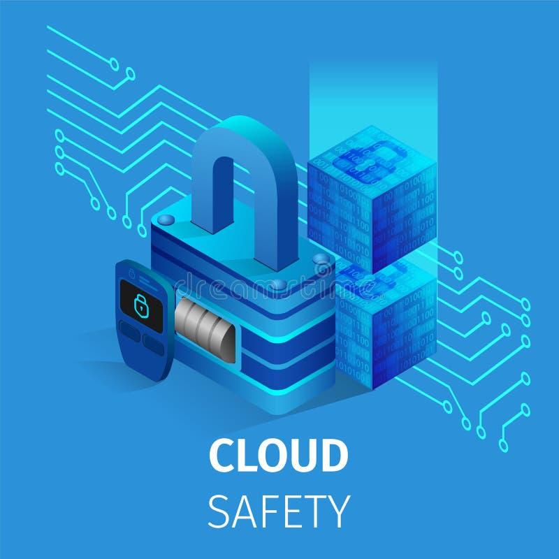 云彩安全正方形横幅 锁和关键存贮 向量例证