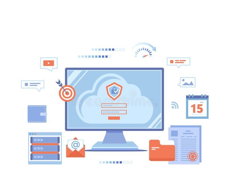 云彩安全,计算的云彩,保护的数据,获取数据交换 有标志形式、注册和密码的,服务器显示器屏幕 皇族释放例证