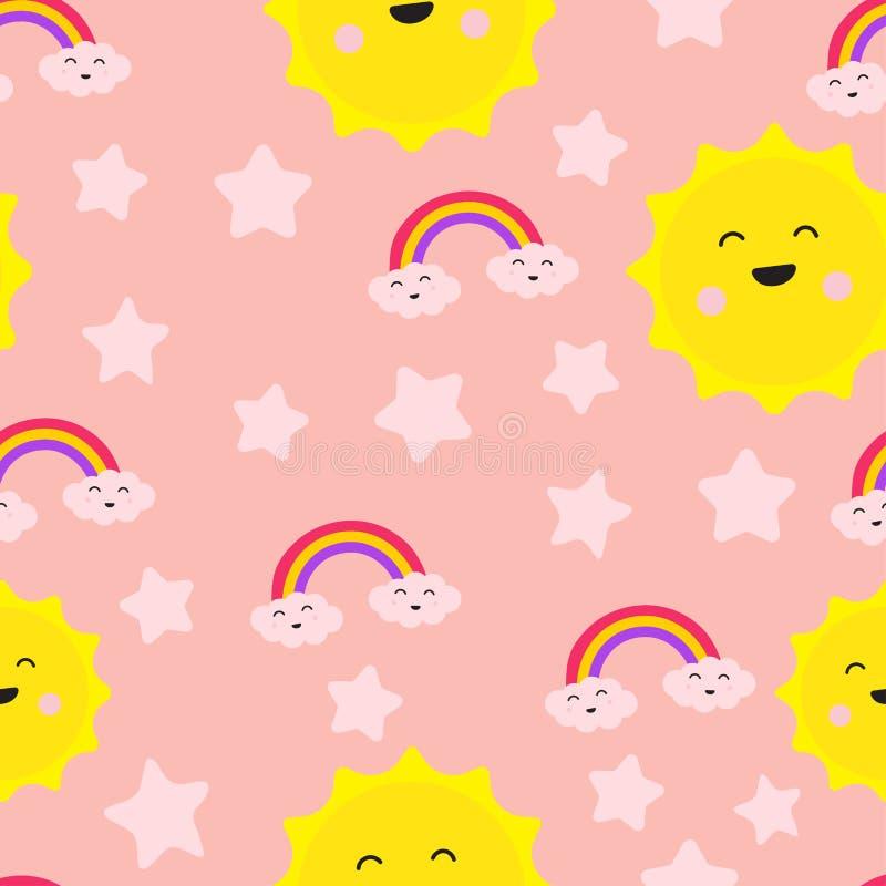 云彩彩虹星和太阳逗人喜爱的无缝的重复样式,笑声乐趣关心喜悦,对两的爱,动画片传染媒介EPS 10例证 皇族释放例证