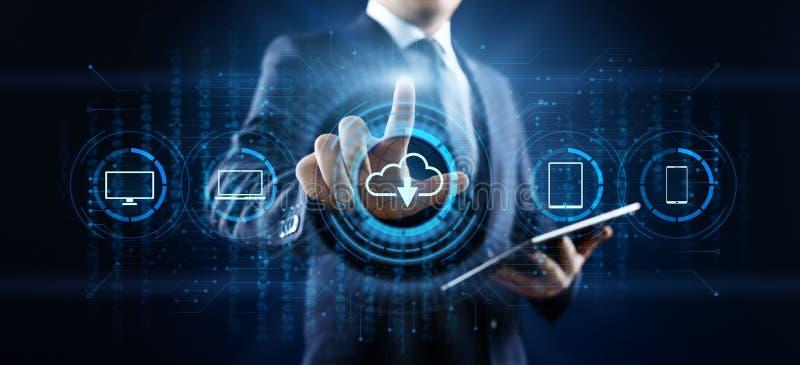 云彩技术处理计算的互联网概念的数据存储 按在屏幕上的商人按钮 向量例证