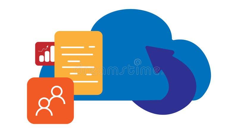 云彩技术概念,数据存储剪贴美术的聪明的生活,覆盖技术的加载数据 库存例证
