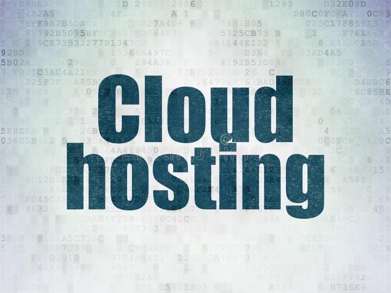 云彩技术概念:主持在数字资料纸背景的云彩 库存例证