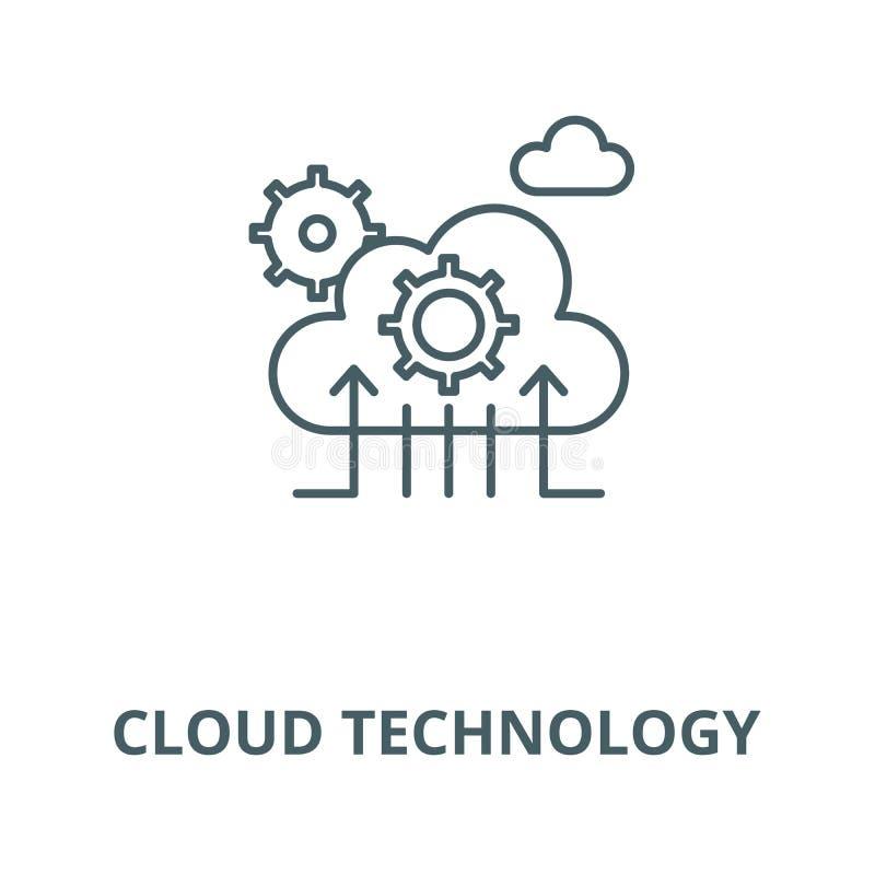 云彩技术线象,传染媒介 云彩技术概述标志,概念标志,平的例证 向量例证