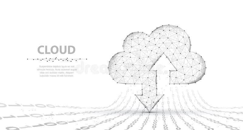 云彩技术 与在白色上上下下隔绝的两个箭头的抽象多角形wireframe云彩存贮标志与 库存例证