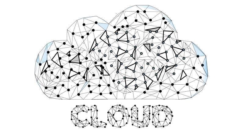云彩技术 云彩计算,大数据或者云彩计算的概念 数字式抽象背景 Wireframe云彩 皇族释放例证