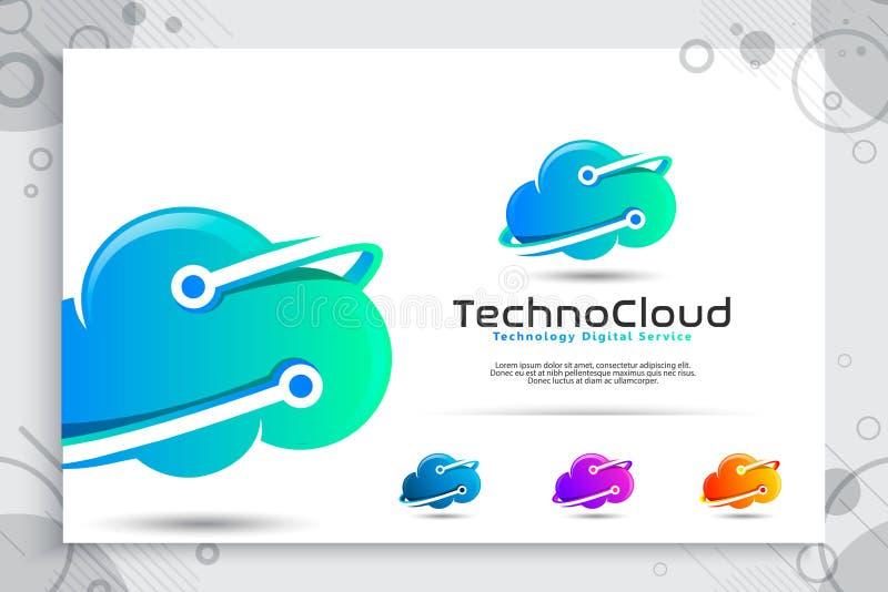 云彩数据向量技术数据服务的商标与现代颜色和样式概念,云彩的例证软件的 向量例证