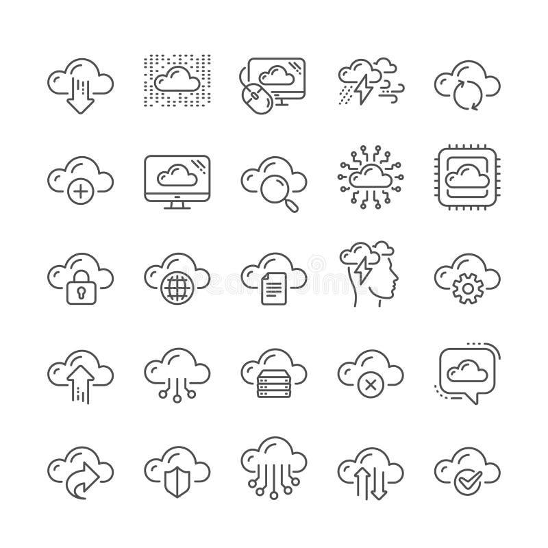 云彩数据和技术线象 设置主持的,计算的数据和文件存储 向量 库存例证