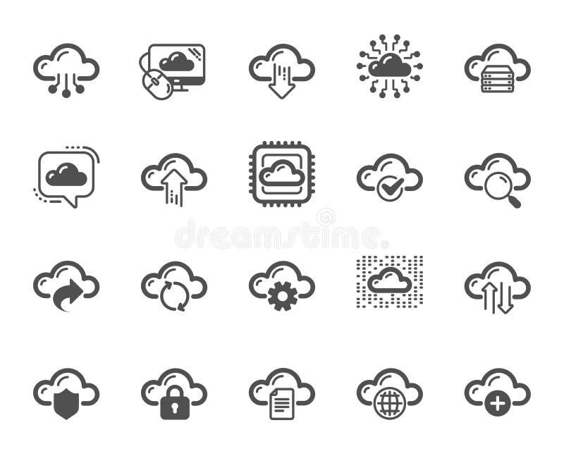 云彩数据和技术象 设置主持的,计算的数据和文件存储 向量 皇族释放例证