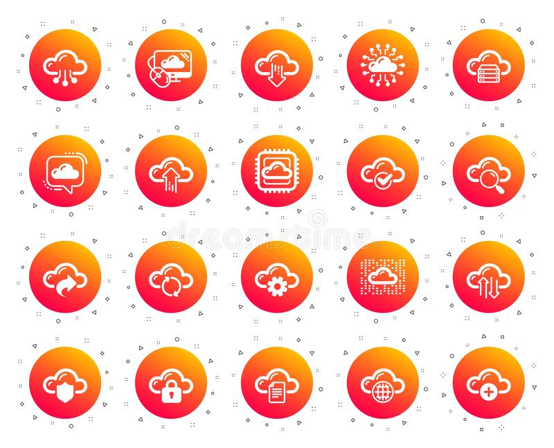 云彩数据和技术象 设置主持的,计算的数据和文件存储 向量 向量例证