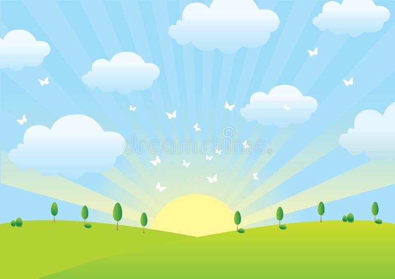 云彩春天 向量例证